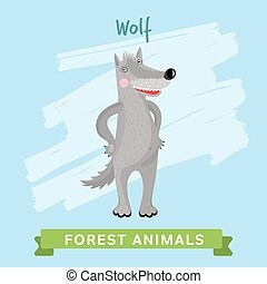 Wolf Vector, forest animals.