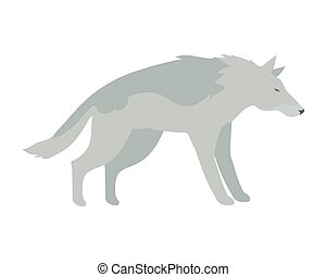 Wolf Vector Illustration in Flat Design - Wolf flat style...