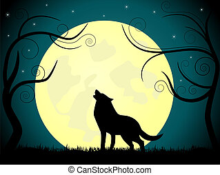 Vector picture about wolf barking on the moon.