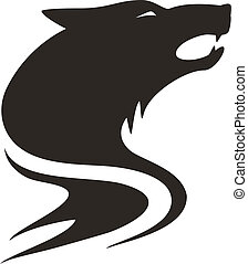 Tribal wolf. Tattoo style vector.