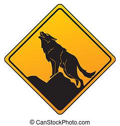 wolf, waarschuwend