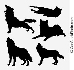 Wolf wild animal silhouette - Wolf wild animal and action...