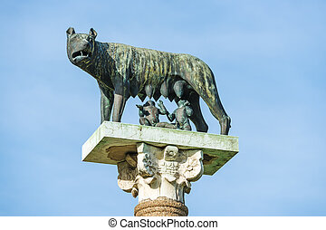 Wolf with Romulus and Remus - Statue of wolf with Romulus ...