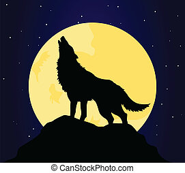 wolf4 - The wolf howls on the moon at night. A vector...