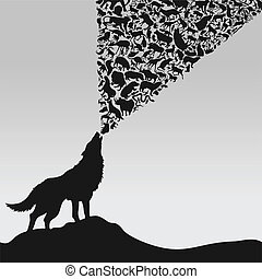 The wolf howls animals. A vector illustration