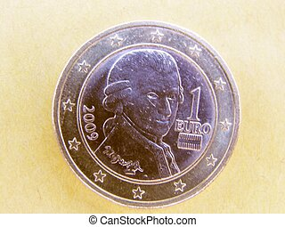 Wolfgang Amadeus Mozart (1756 - 1791) on a 1 euro coin