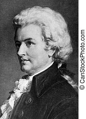 """Wolfgang Amadeus Mozart (1756-1791) on engraving from 1908. One of the most significant and influential composers of classical music. Engraved by unknown artist and published in """"The world's best music, famous songs. Volume 8"""", by The University Society, New York,1908."""