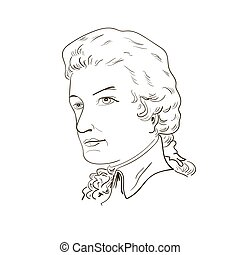 Wolfgang Amadeus Mozart. Sketch portrait. black and white....