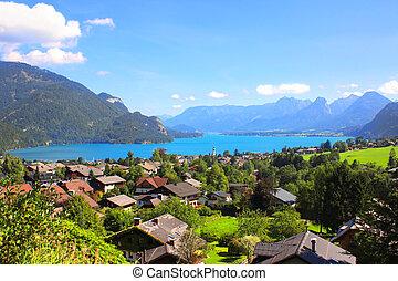 Wolfgangsee lake in Alps, Austria