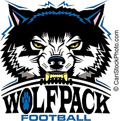 wolfpack football team design with mascot and laces for ...