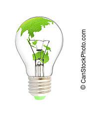 wolfram, glühlampe, mit, grüne erde, landkarte
