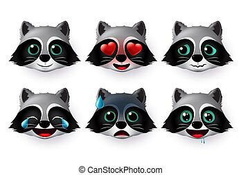 Wolfs emoji or emoticon vector set. Wolf face emojis avatar character in hungry, scared, laughing, exhausted, in love and happy facial expressions.