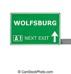 WOLFSBURG road sign isolated on white