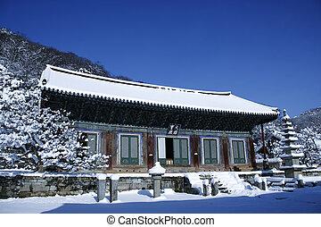 Woljeongsa temples in south korea, winter landscape