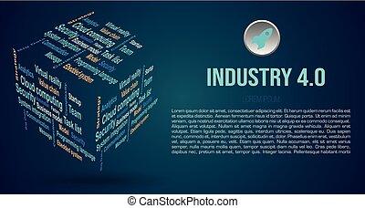 wolk, 4.0, kubus, termijnen, over, kleur, woord, achtergrond, industrie, 3d, vector, blauwe