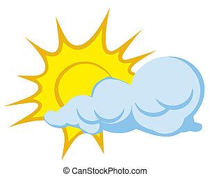 wolk, achter, zon