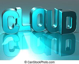 wolk, blauwe achtergrond, 3d, woord