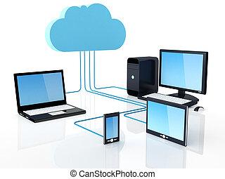 wolk, concept, gegevensverwerking