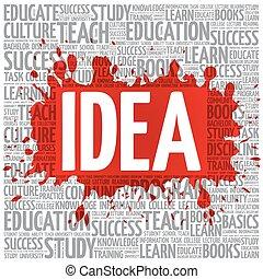 wolk, concept, woord, idee, opleiding