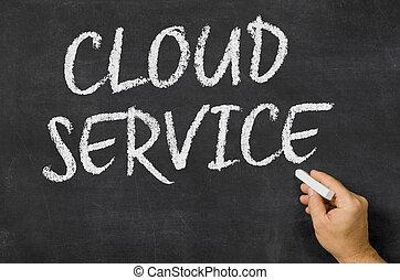 wolk, dienst, geschreven, op, een, bord