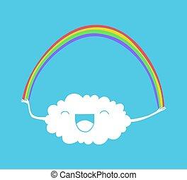 wolk, en, regenboog, illustratie