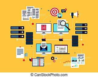 wolk, gegevensverwerking, artikelen & hulpmiddelen, data, netwerk, en, zakelijk, intelligence.
