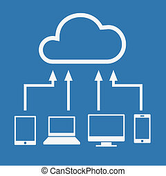 wolk, gegevensverwerking, concept., gevarieerd, artikelen &...