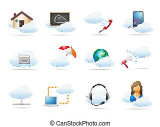 wolk, gegevensverwerking, concept, pictogram
