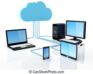wolk, gegevensverwerking, concept