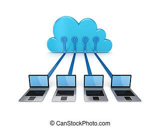 wolk, gegevensverwerking, concept.