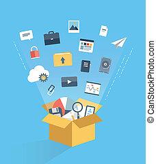 wolk, gegevensverwerking, dienst, concept, illustratie