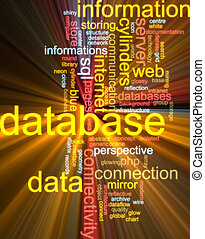 wolk, gloeiend, woord, databank