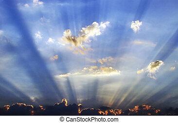 wolk, het bovenkomen, achter, sunrays