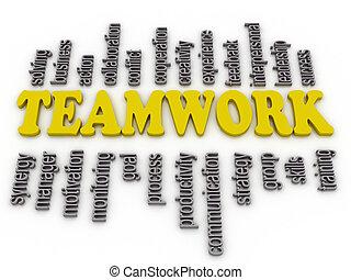 wolk, items, verwant, teamwork, 3d, woord, imagen
