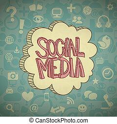 wolk, media, sociaal