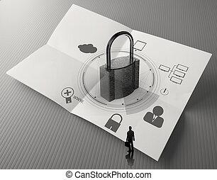 wolk, netwerk, diagram, met, hangslot, op, verfrommeld papier, als, internet veiligheid, online, handel concept