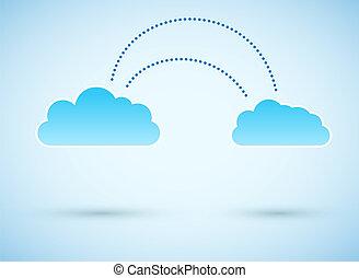 wolk, om te, wolk, connection., vector, illustratie