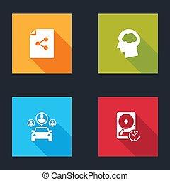 wolk, schijf, hard, set, hoofd, rechtsdraaiend, bestand, delen, besturen, icon., aandeel, silhouette, auto, vector
