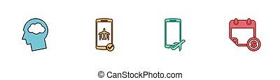 wolk, set, hoofd, kalender, vlucht, icon., vector, silhouette, financieel, beweeglijk, wijze