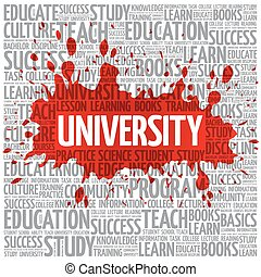 wolk, universiteit, concept, woord, opleiding