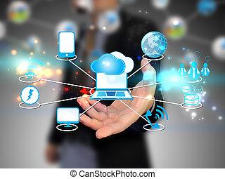 wolk, vasthouden, zakenman, technologie, gegevensverwerking...