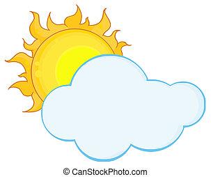 wolk, volle, achter, zon