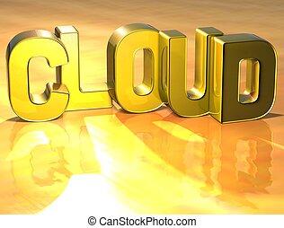 wolk, woord, achtergrond, goud, 3d