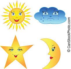 wolk, zon, komisch, maan, ster