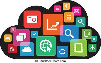 wolke, app, technologie