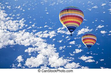 wolke, balloon, heiß, see luft