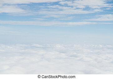 wolke, blau, himmelsgewölbe, ansicht, von, motorflugzeug