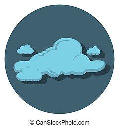 wolke, blaues, ikone, kreis, wohnung