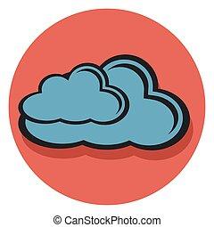 wolke, ikone, kreis, schatten, ledig