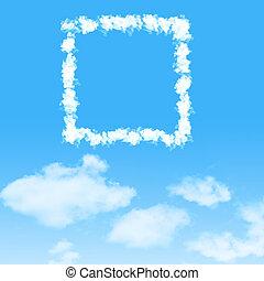 wolke, ikone, mit, design, auf, blauer himmel, hintergrund